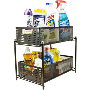 2-Tier Mesh Organizer Baskets with Sliding Drawers - Sorbus Home