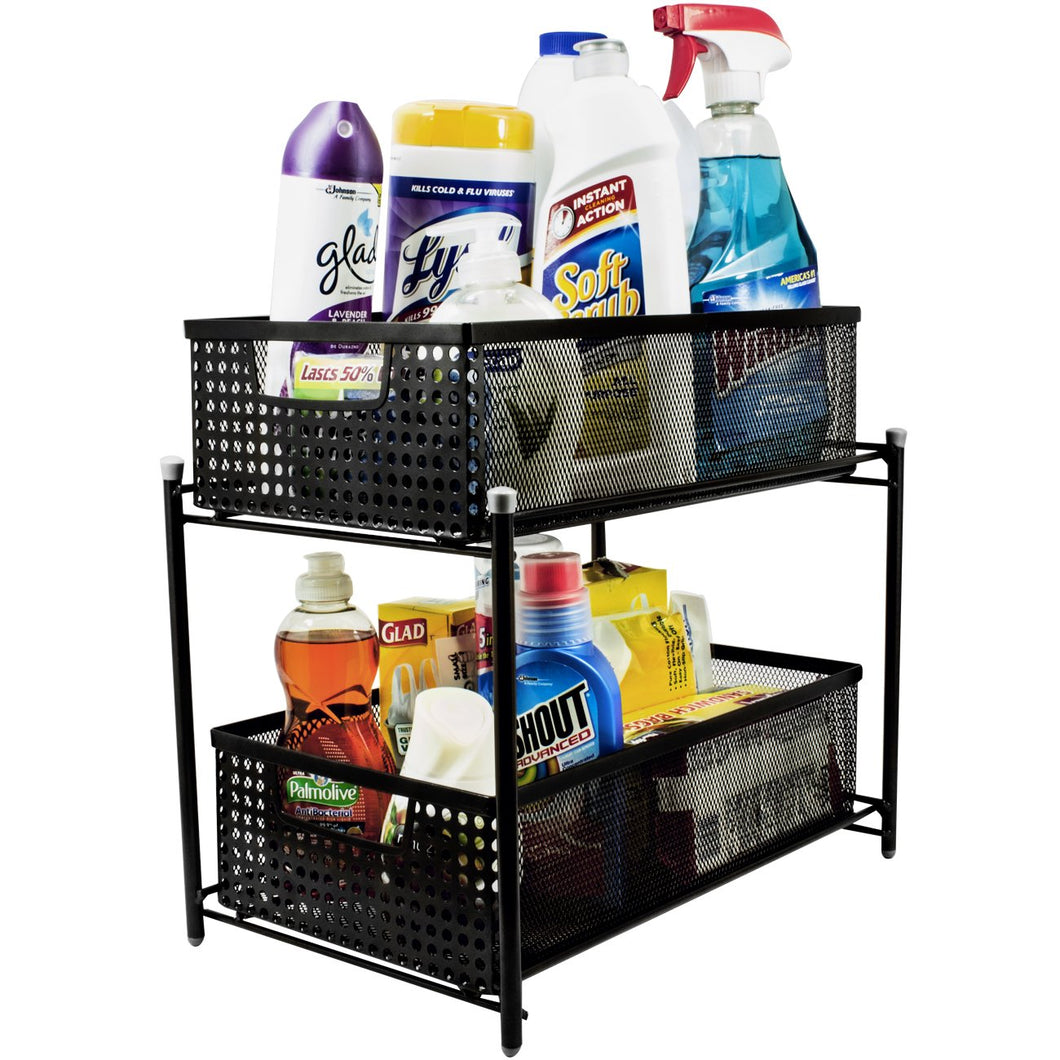 2-Tier Mesh Organizer Baskets with Sliding Drawers