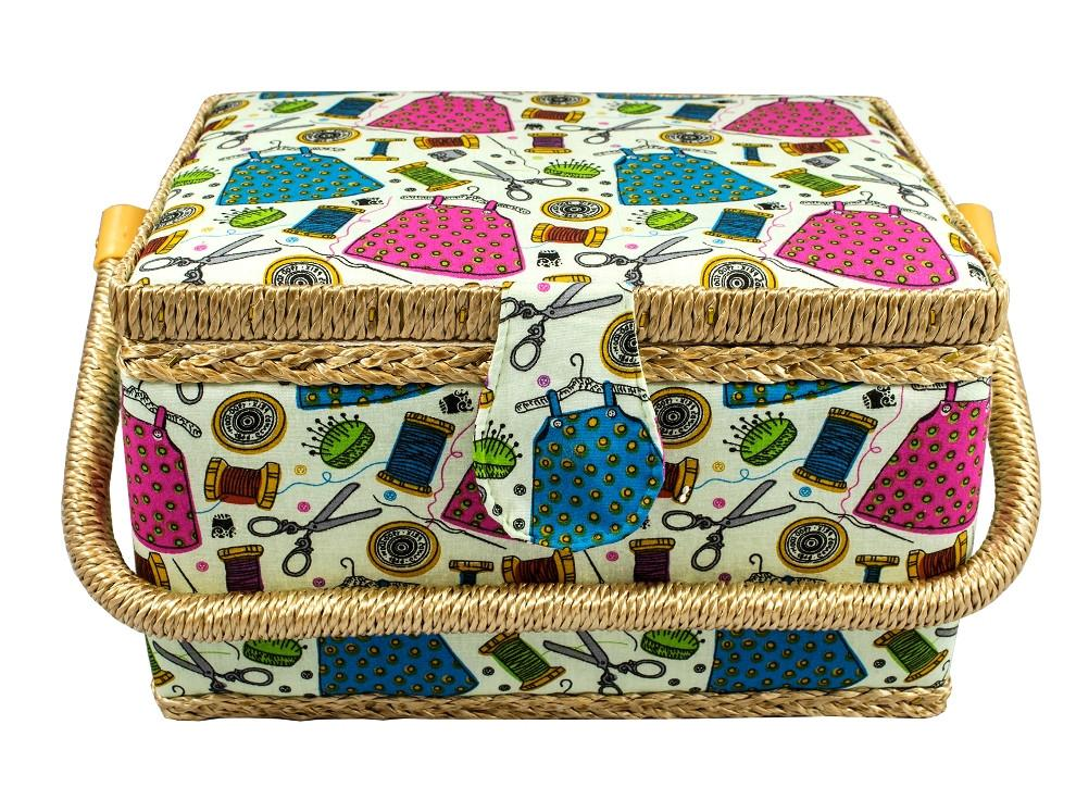 Medium Size Fabric Covered Sewing Basket w/ Handy Insert Tray and Sewing Notions