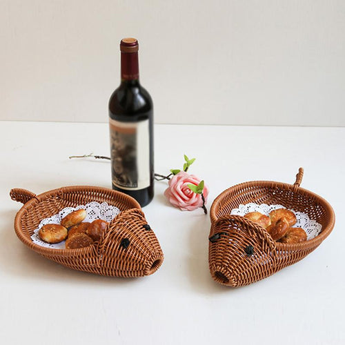 Plastic Vine Braided Shaped Fruits Holder Storage Basket  Fish Shaped Design