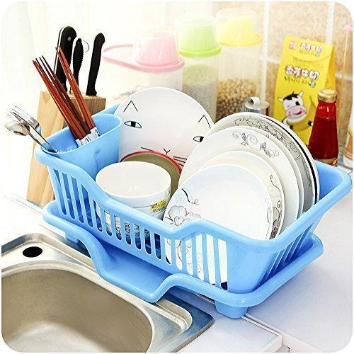 ALLWIN 3 in 1 Large Sink Set Dish Rack Drainer/Storage Shelf/Kitchen Drying Rack/Drainer and Drying Rack/Holder Basket Organizer/Plastic Kitchen Sink/with Removable Tray-Blue (Heavy & HIGH Quality)