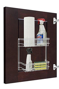 "Home Basics 2 Tier Wall Mountable Wire Cabinet/ Closet Basket Organizer, White (12.5""x5""x12.5"")"