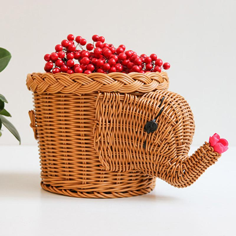 Imitated Vine Holder Basket Braided Animal Shaped Fruits Storage Rattan Woven