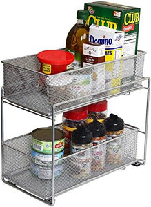 "Silver Mesh 2 Tier Sliding, Open Drawer, Storage Basket/ Bin Organizer by YBM Home (Each Basket 7.5""x 13.5"")"