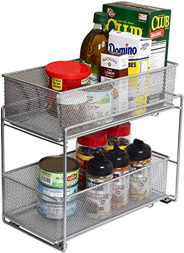 Silver Mesh 2 Tier Sliding, Open Drawer, Storage Basket/ Bin Organizer by YBM Home (Each Basket 7.5