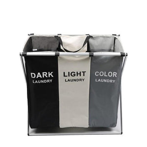Foldable Dirty Laundry Basket Organizer Collapsible Three Grid Laundry Hamper