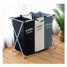 Load image into Gallery viewer, Foldable Dirty Laundry Basket Organizer Printed Collapsible Three Grid Home Laundry Hamper Sorter Laundry Basket Large