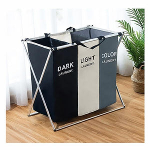 Foldable Dirty Laundry Basket Organizer Printed Collapsible Three Grid Home Laundry Hamper Sorter Laundry Basket Large