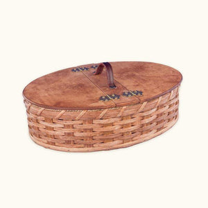Gingerich Family Amish Handwoven Wicker Oval Sewing Basket Organizer Case with Lid