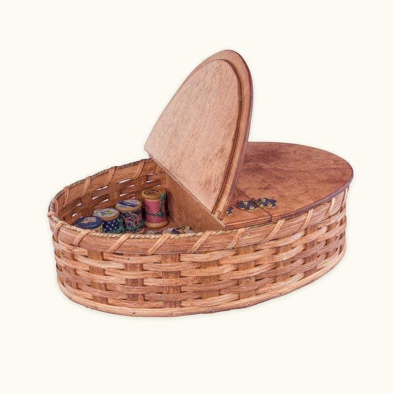 Amish Handwoven Wicker Oval Sewing Basket Organizer Case with Lid