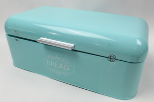 Vintage Bread Box For Kitchen Stainless Steel Metal in Retro Turquoise- USED - BuyLow Warehouse