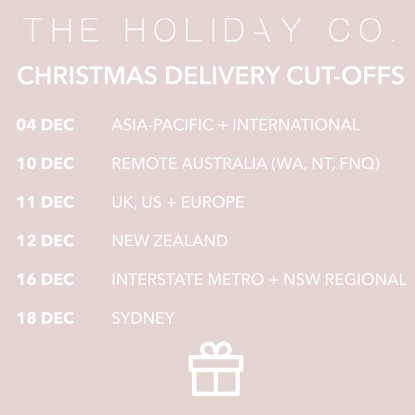 Christmas delivery dates | The Holiday Co.