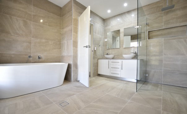 Bathrooms with large tiles are easier to clean due to less grout, especially in the shower!