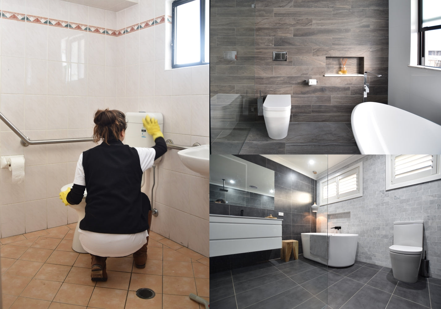 Bathroom designs that are easy to clean and low maintenance, especially for shower, vanity and toilet