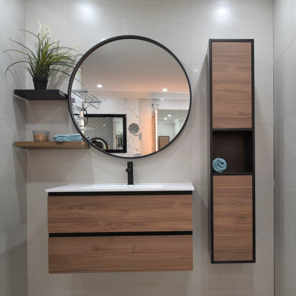 Sanfusion Bathroom Display featuring Matte black and timber accents at ATS Showroom