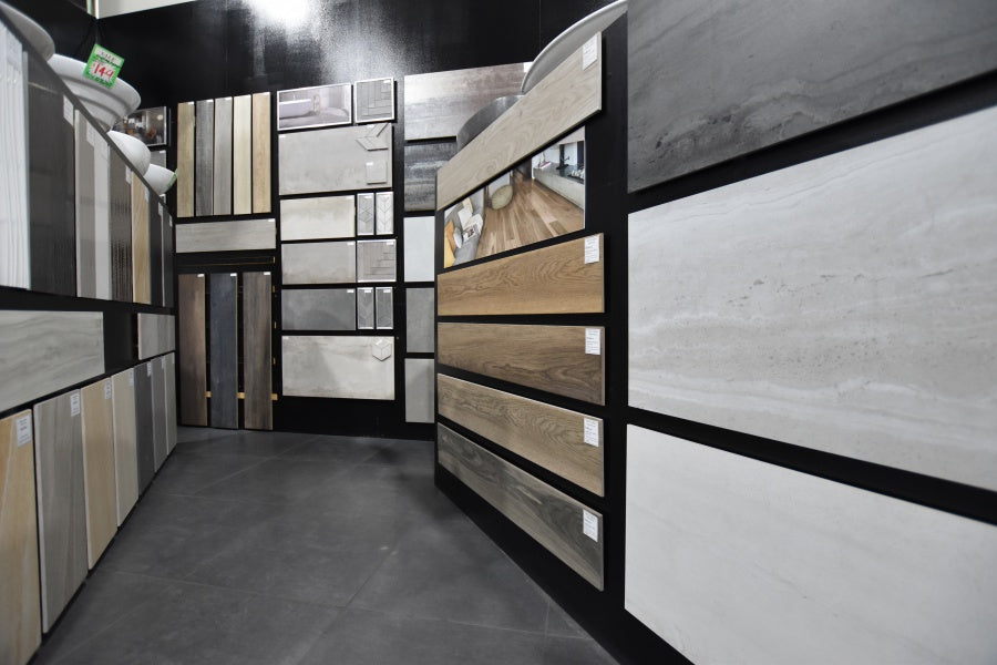 Tiles, including porcelain and timber look tiles, on display at ATS tile showroom in sydney