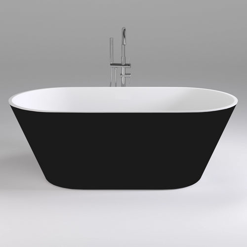 Brighton 1600mm Oval Freestanding Bath, Black and White