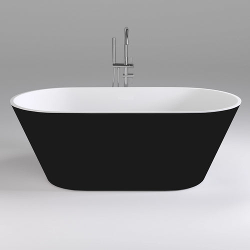 Brighton 1700mm Oval Freestanding Bath, Black and White