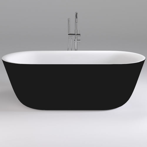 Amoroso 1700mm Freestanding Bath | Gloss Black and White |