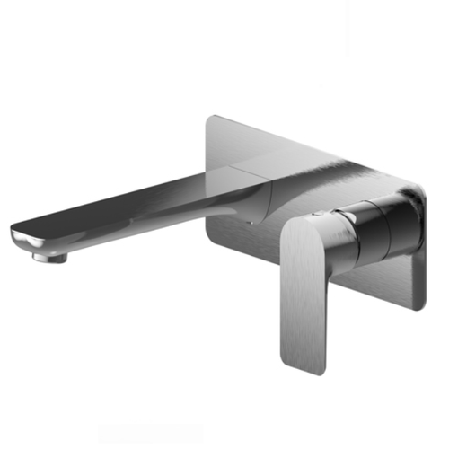Jena Wall Mounted Basin / Bath Mixer with Spout | Brushed Nickel |