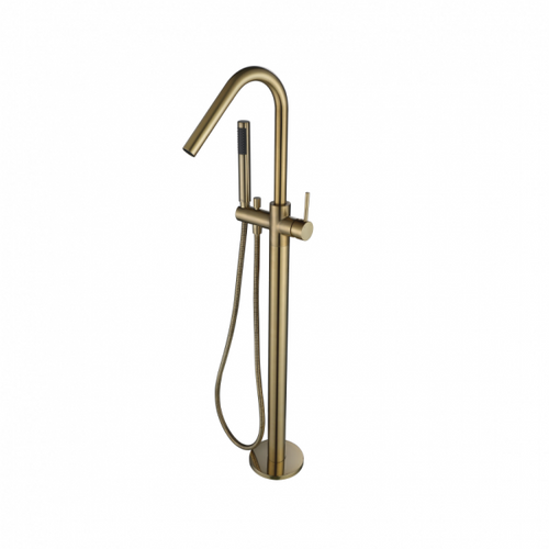 MN Round Freestanding Floor Bath Filler Spout with Mixer and Hand Shower | Brushed Bronze |
