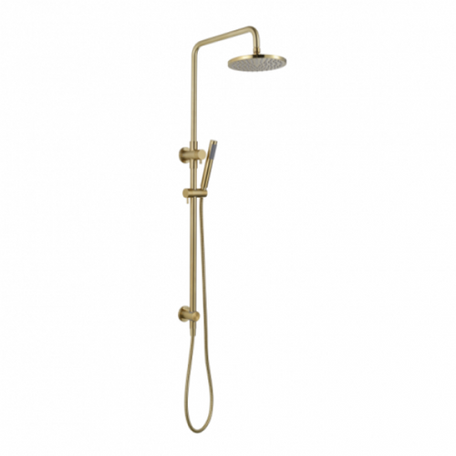 MN Round Twin Shower System with Rail and Hand Shower | Brushed Bronze |