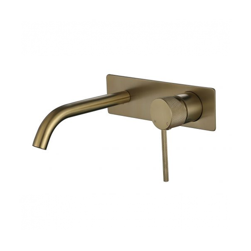 MN Round Wall Mounted Basin Mixer Set Combo with Textured Pin Handle | Brushed Bronze |