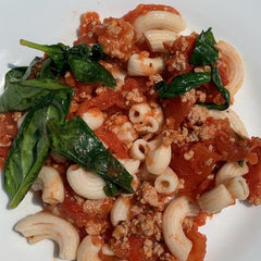 Turkey Tomato Sauce over Brown Rice Pasta