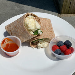 All White Spinach and Feta Wrap with Berries