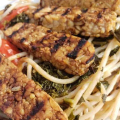 Vegan Tempeh Brown Rice Pasta Kale Tomato