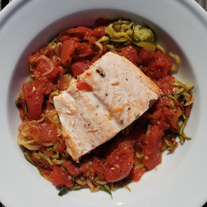 Salmon with Sauce over Zoodles