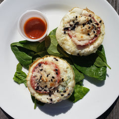 Kale Tomato Parmesan Egg White Muffins Over Greens