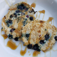 Blueberry Protein Pancakes with Maple Syrup
