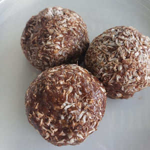 Chocolate Peanut Butter Coconut Protein Bites