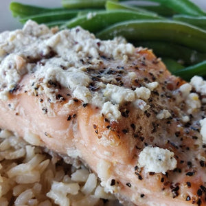Salmon with Mustard Sauce, Brown Rice and Green Beans