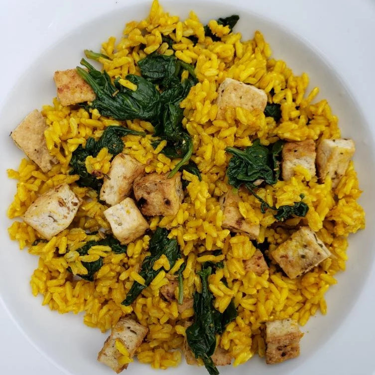 Vegan Spinach Tofu with Tumeric Rice
