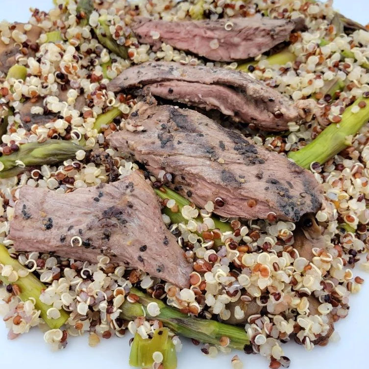 Steak with Quinoa, Mushrooms and Asparagus