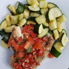 Chicken Bruschetta with Grilled Zucchini