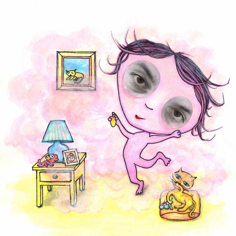 A little girl feeling pink. An illustration from the poem picture book, My Colors Inside, by Alex Mitchell.