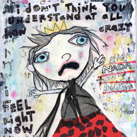 Colorful detail of funny painting Nada Nada of a crazy-looking girl very upset about having nothing to wear by Alex Mitchell.