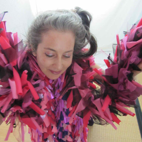 Alex Mitchell feeling fab and inspired wearing all her soft multicolor lush fashion boa scarves from Twinki-Winki.