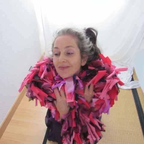 Alex Mitchell feeling fab while wearing all her soft multicolor lush fashion boa scarves from Twinki-Winki.