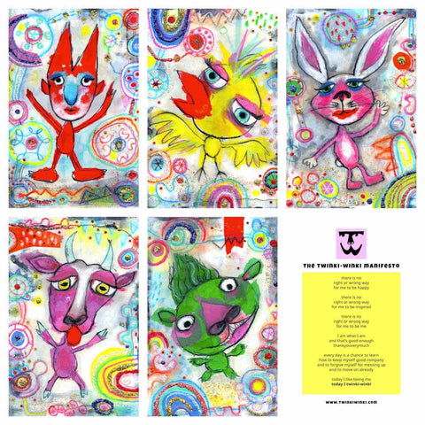 A set of five playful cards with the Twinki-Winki Manifesto and colorful Glorious Misfits characters mailed to customers.