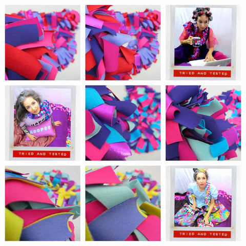 Various colorful fabulous boa scarves shown in detail and in funny portraits worn by Alex Mitchell of the Twinki-Winki brand.