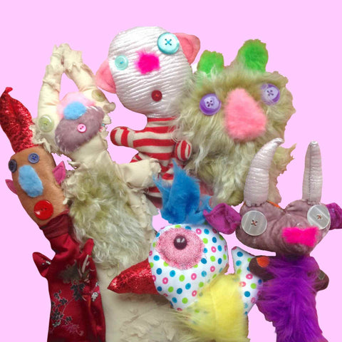 Colorful furry fabric puppets with sweet faces of a funny group of characters from Twinki-Winki by Alex Mitchell.