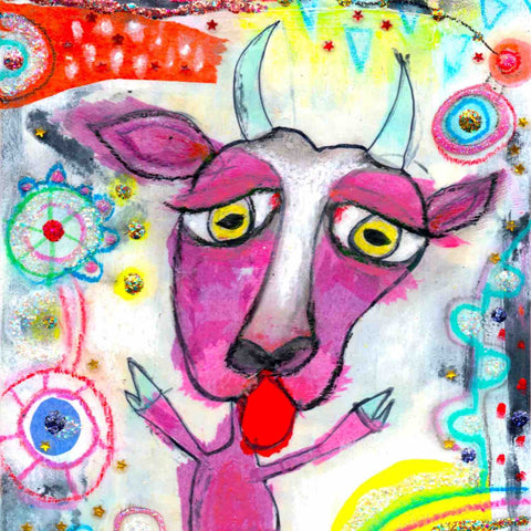 Colorful detail of fine art print from the Twinki-Winki Glorious Misfits wall decor series in version Luca.