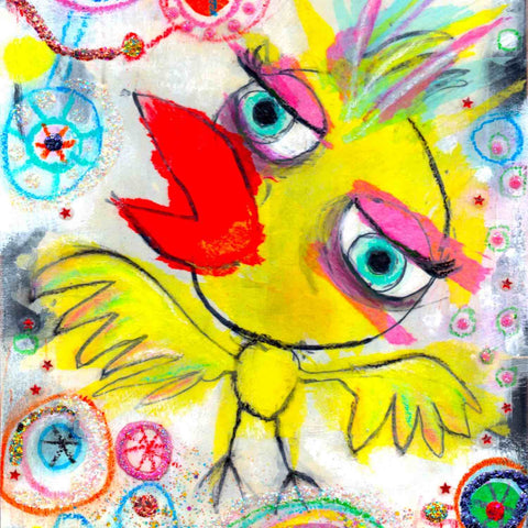 Colorful detail of fine art print from the Twinki-Winki Glorious Misfits wall decor series in version Pika.