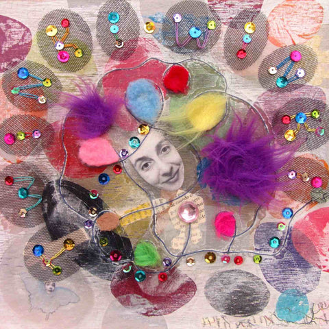 Colorful detail of playful mixed media art with sequins and fluffy bits. Fine art print from Twinki-Winki by Alex Mitchell.