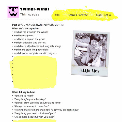 Besties Forever worksheet for liking yourself behavior available as free download on Twinki-Winki goodies page.