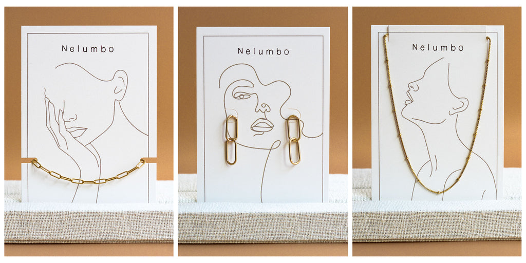Pictures of the nelumbo display cards for bracelets, earrings, and necklaces. Destined for our points of sale.